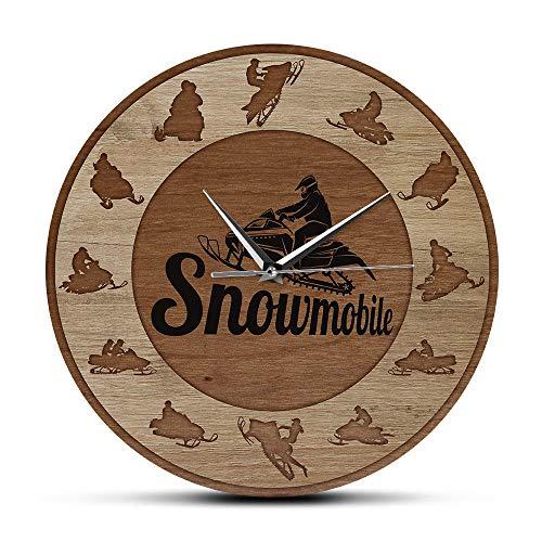 Freaiaqy Extreme Snowmobile Riders Silhouette Art Wood Texture Stampa Acrilica Orologio Da Parete Neve Giochi Invernali Home Decor Motoslitte Regalo-No Frame