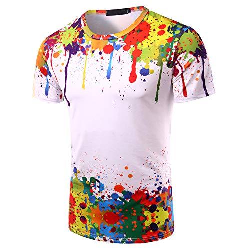 ZYYM Unisex 3D T-Shirts Herren Damen Druck Kurzarm T-Shirts Tee Tops Herren Hemd Herren Kurzarm Sommer Rundhals Farbe Splash Paint Ink Sport 3D Print Bluse Tops T Shirts Männer Hemden