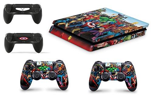 giZmoZ n gadgetZ GNG PS4 Slim Konsolen-Gehäuseaufkleber, Motiv: Marvel, inklusive 2er-Set mit Aufklebern für Controller