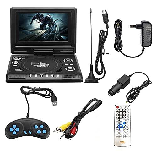 GEQWE Tragbarer DVD-Player Auto Mit 7.8 Zoll HD Schwenkbaren Bildschirm, Stereo-Lautsprecher&Dual-Kopfhörer-Buchse, Unterstützung Sync TV/USB/SD-Karte, Auto Kopfstütze Halterung, Schwarz