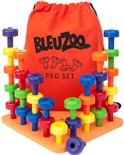 BleuZoo Peg Board Set - Montessori Stacking Toys For Toddlers | Fine Motor Skills, STEM, Autism,...