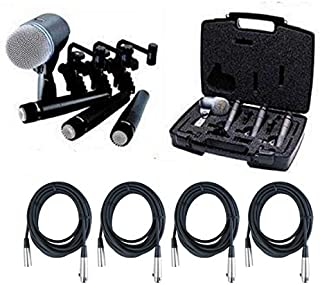 Shure DMK57-52 Drum Microphone Kit + (4) XLR Cables Bundle (8 items)