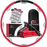 GATE FITNESS® Hula Hoop Reifen Erwachsene zum Abnehmen   6-8 Segmente Hoola Reifen mit Wellendesign   Anfänger & Fortgeschrittene [1,2kg]   Fitnessreifen mit Schaumstoff - inkl. Tasche (Rot)