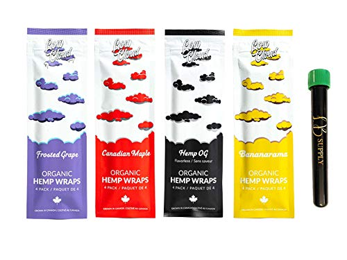 Leaf Butler & Low Cloud Organic Wraps | Variety Bundle 16 Wraps Total (4 Wraps/Pack) | Made from Canadian Grown Hemp…