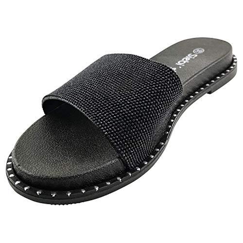 Siebi's Rinia Badeschuhe Damen modische, Flexible und leichte Pantolette: Größe: 39 EU | Farbe: Schwarz