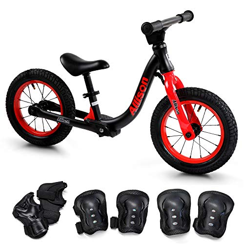 キックバイク バランスバイク ランニングバイク 3歳 こども用自転車 ペダルなし自転車 カラー,ブラック×レッド Allison三輪車 Allison アリソン [並行輸入品]