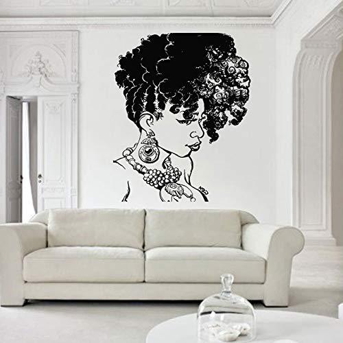 jiushizq Afrikanische Frauen Wandtattoo African Wild Pride Salon Home Interior Design Kunst Maske Mädchen Tattoo Tanzen Haar 57x91cm