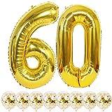 Youngneer Globos con el número 60, color dorado, en forma de bombona de helio para aniversario de boda, para inflar globos, fiestas de cumpleaños, decoración para mujer, hombre, kit de globos