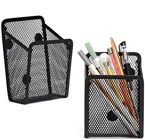 Magnetischer Schreibtisch-Organizer, für Kühlschrank, Aufbewahrung, Stiftehalter, Topf, Schwarz, 8,9 x 6,7 x 13 cm, 2 Stück