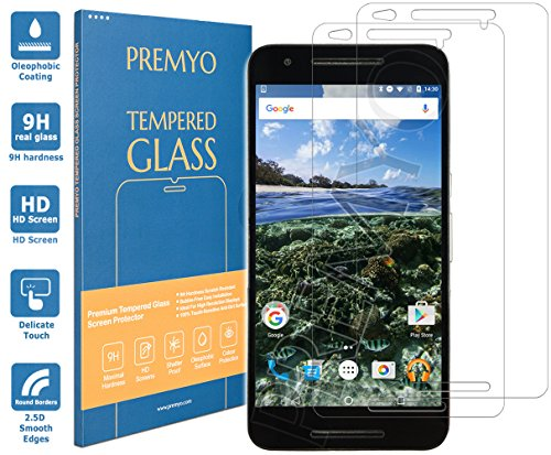 PREMYO 2 Piezas Cristal Templado Protector de Pantalla Compatible con Nexus 6P Dureza 9H Bordes 2,5D Sin Burbujas contra Arañazos
