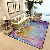Flower Carpet Rugs for Living Room Abstract Herbs Weeds Alternative Medicine Blossoms Ivy Back Florets Shrubs Design Modern Indoor Carpet for Boys Multicolor W6.5xL9.8 Ft