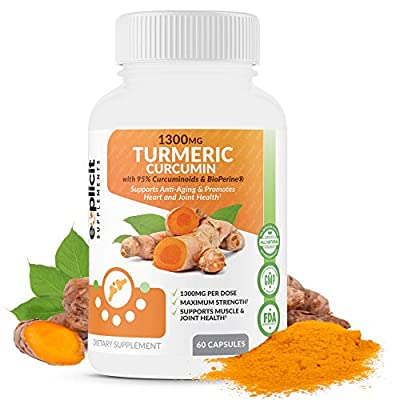 Natural Turmeric Curcumin (95%) 1300mg Supplement with BioPerine - Anti-Inflammatory and Antioxident - Pain Relief Support – 1 Month Supply