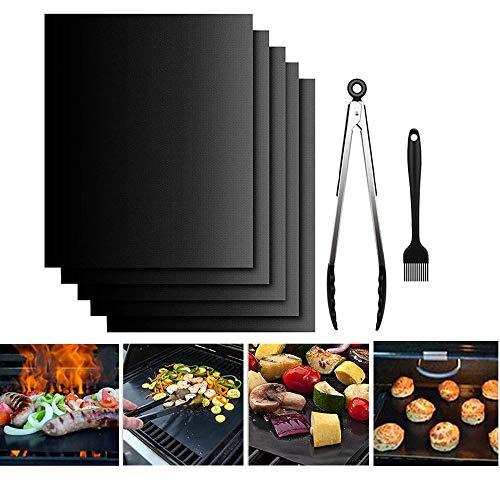 5er BBQ Grillmatte, Grillbürste + Grillzange, PFOA-Frei Grillmatten für Gasgrill, Wiederverwendbar Antihaft Grill-und Backmatte, Perfekt für Holzkohle, Gasgrill & Backofen Wiederverwendbar (40*33cm)