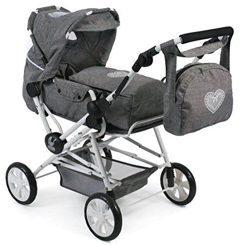 Bayer Chic 2000 562 76 Super Kombi-Puppenwagen Roadstar für große Kinder, Jeans grau