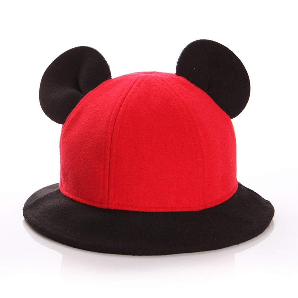 Logo Children's Hat Baby Hat Autumn and Winter Boys' Basin Caps Girl Fisherman Hat Winter Woolen Cap Sun Hat (Color : Red, Size : L)