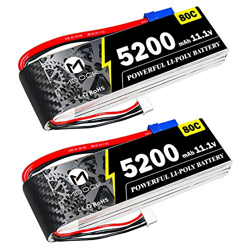 MOOCK 5200mAh 80C 11.1V 3S RC Lipo Battery with EC5 Plug for RC Airplane DJI Quadcopter RC Plane RC Helicopter RC Car Vehicle Truck Boat Racing Models (2 Pack)