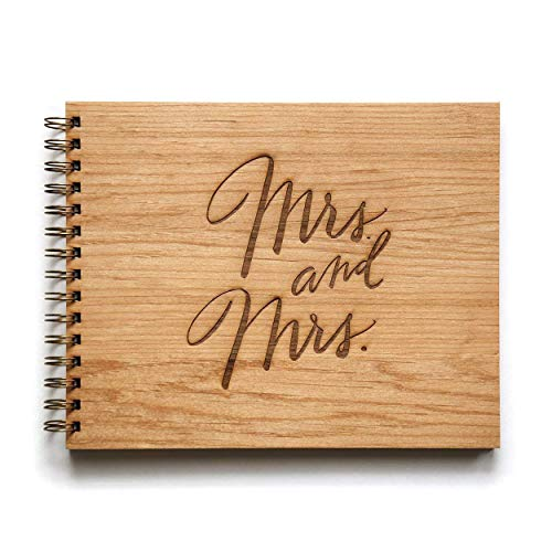 Mrs. & Mrs. Laser Cut Wood Wedding Guestbook