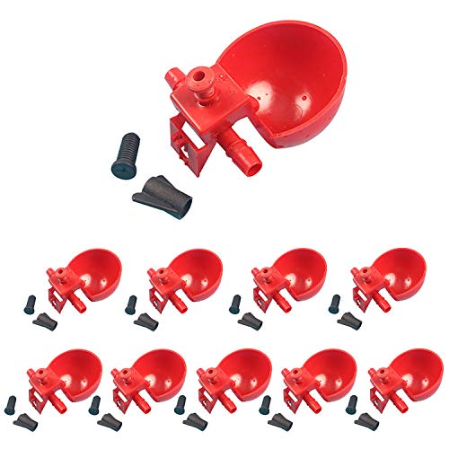Wontee 10PCS Automatic Poultry Water Drinking Cups Plastic Drinker Hanging Farm Tool for Bird Chicken Fowl Chick Coop