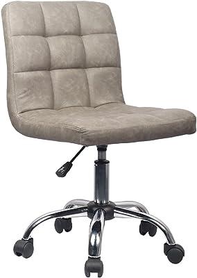 オフィスチェア デスクチェア パソコンチェア PUレザー 椅子 昇降機能付き ホームオフィスチェア コンパクト 頑丈 メイクアップチェア リビングチェア おしゃれイス グレー