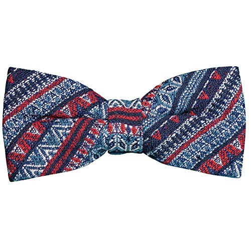 FLIEGENFAENGER Pajarita para hombre, multicolor, atada y ajustable, pajarita para hombre, color azul y rojo, diseño colorido con caja de regalo