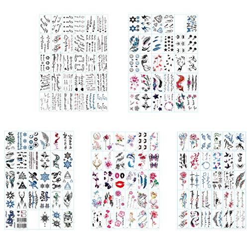 PRENKIN Tatouage temporaire Autocollants Hommes Femmes imperméable Longue durée Alphabet Anglais Fleurs Autocollants Tattoo