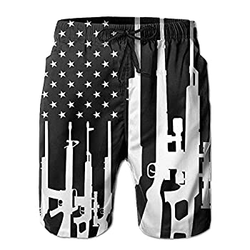 SARA NELL Mens Gun Design American Flag Breathable Beach Board Shorts Swim Trunks Quick Dry  XL Gun Design American Flag
