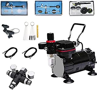 Royalmax Multi-Purpose Airbrush System Kit - 1/5 HP Piston Low Noise Black Airbrush Air Compressor Kit, 3 Different Nozzle Diameter Gravity &Siphon Feed Airbrushes with A Splitter,The Cleaning Tool