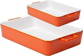 Xiteliy Ceramic Bakeware Set Baking Dish Lasagna Pans Casserole Dish Square Brownie Pan with Double Handle (2, Orange)