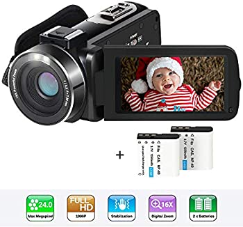 Actinow 1080p SD Digital Camcorder with 16x Digital Zoom and 2 Batteries