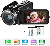 Video Camera Camcorder HD 1080P 24MP YouTube Vlogging Camera 3' LCD 270 Degrees Rotatable Screen 16X Digital Zoom Digital Camera Recorder with 2 Batteries