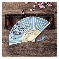 扇子 1ピースレトロ中国の日本のシルク竹の折りたたみファン家の装飾飾り花絵画の手持ち型ファンダンスパーティー (Color : H10)