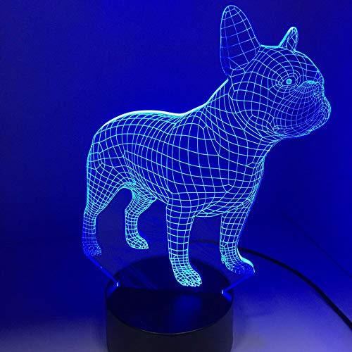 Lámpara de noche LED 3D de Bulldog francés, 7 colores, holograma USB, decoración de mesa, luces de escritorio, regalo de fiesta de cumpleaños para niños amigos