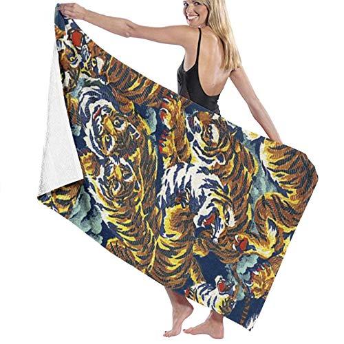 Toallas de baño con patrón de tigre de secado rápido suave para la playa, toalla de ducha de 130 x 80 cm