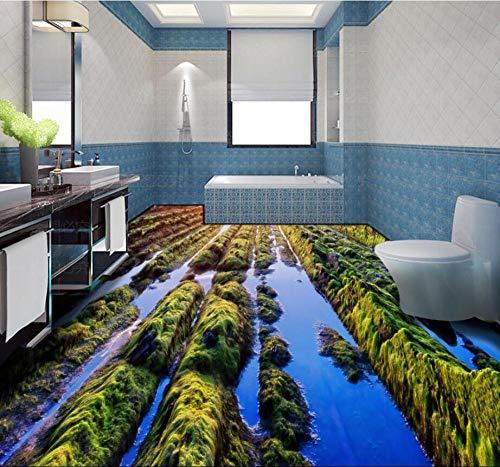Decoración del piso de la sala de estar Papel tapiz pintado para el piso 3D personalizado para pegar la hermosa piedra verde del país de las hadas Piso del baño de la sala de estar 3D-250 * 175Cm De