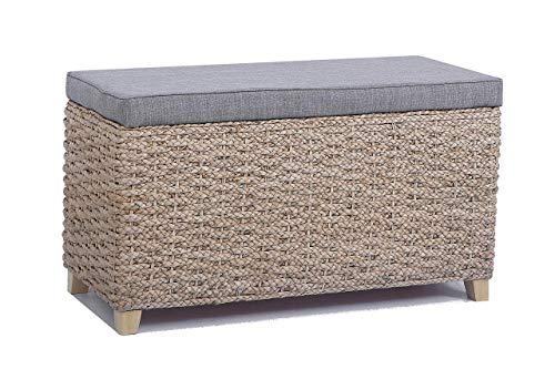 Taburete con espacio de almacenamiento,Banco para dormitorio,Color natural,tela de lino gris, 70x30x40cm