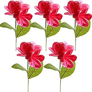 5PCS PU Real Touch Lifelike Artificial Plumeria Frangipani Flower Stems Wedding Home Party Spring Flowers Decoration