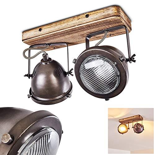 Plafoniera Glostrup in metallo/acciaio/legno, a 2 luci, attacco lampadine GU10 max 5 Watt, adatta anche per lampadine LED. I faretti sono orientabili singolarmente. Stile retró/vintage