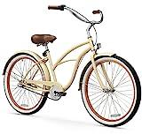sixthreezero Women's 3-Speed 26-Inch Beach Cruiser Bicycle, Scholar Cream w/Brown Seat/Grips