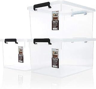 Boîte de Rangement en Plastique Transparent en Trois Parties avec Fermeture à Pression, Plastique, Couvercle Transparent-T...