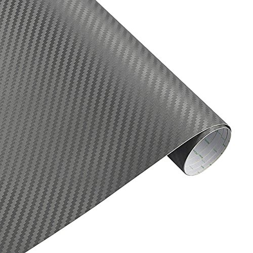 AFQHJ 200cm * 30cm 3D-Carbon-Faser-Vinylfilm 3M Auto-Aufkleber wasserdichte DIY Motorrad Automobil Car Styling-Verpackungs-Rollen Zubehör, Farb Name: 3D-rot (Color : 3D Gray)