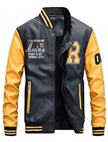 Mordenmiss Men's Basic Leather Letter Man Baseball Varsity Jacket Bomber Outwear Yellow L