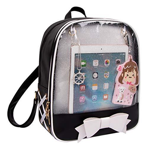 Shidan Ita Bag Candy Leder Rucksack Bowknot Kawaii Fenster Mädchen Schultasche FM8