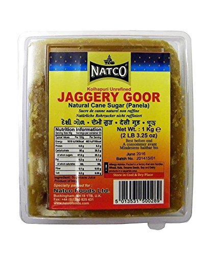 Natco Jaggery Goor (kolhapuri sin refinar) – Panela – 1 kg x 2