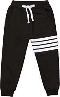 Baby Boys Girls Cotton Elastic Waist Sports Pants White Strips Print Unisex Baby Casual Active Sweatpants Trousers Bottoms