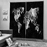 ZYZYY Cortinas Opacas Termicas Aislantes 3D Cortinas Estampadas con Ojales Separadores De Ambientes Habitacion Salón,Dormitorio,Balcón para Ventanas,Mapa-183X214Cm