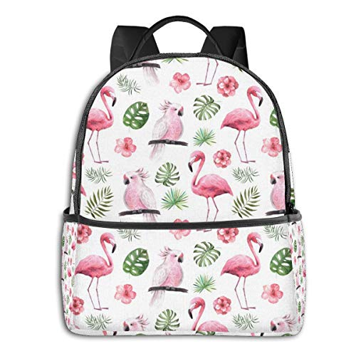 Flamingo Parrot High School Boys Outdoor Cycling Backpack Girls High Capacity Antitheft Backpack