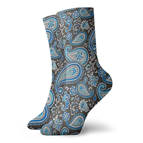 Colin-Design Moderne Paisleymuster in Blau personalisierte Socken Sport Athletic Strümpfe 30 cm Crew Socken für Männer Frauen