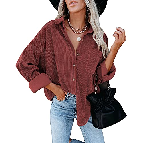 FUNWAVE Camisas de pana de las mujeres de la solapa de manga larga botón abajo chaqueta suelta casual color sólido blusa Tops, rojo vino, M