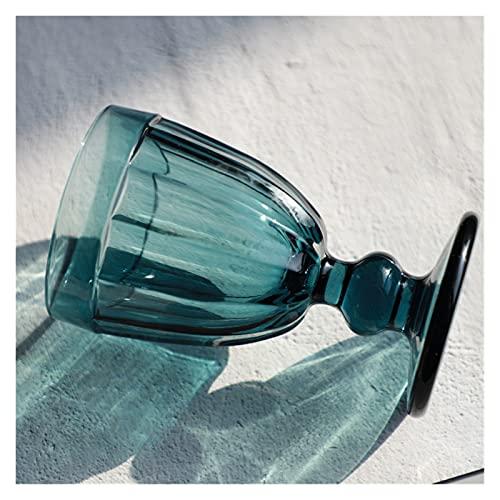 Toto Department Store Copa de Cristal de Vino Rojo Vintage Copa Colorida de Alta Gama Ajuste para manguero Jugo de Cristal de Cristal Copa de Whisky (Color : Blue)