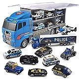 JOYIN 10 en 1 Moulé Camion de Sauvetage de la Police Jeu de Jouets pour Mini Véhicules de Police dans Un Camion Porteur